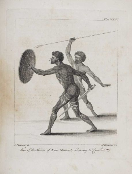 Two of the Natives of New Holland, Advancing in Combat