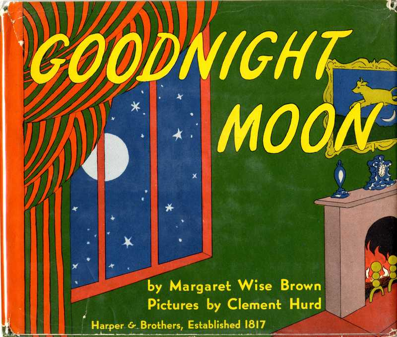 Goodnight Moon Cover, drawing of a green room with a large window looking out to a night sky and full moon
