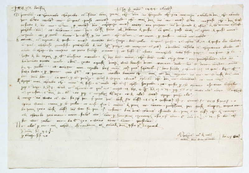 Letter, 1444 September 25, London to Laurenzius Dolpfin
